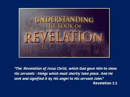 """The Revelation of Jesus Christ, which God gave Him to sh"