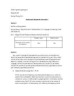 EE Engineering Design IV Assignment  Yuanpei Zhang Xin Li Automatic Keywords Extraction Section  Summary of Assignments Yuanpei Zhang Algorithm and its implementation in C Language Connecting C code