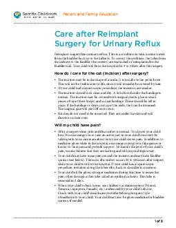 Patient and Family Education  of  Care After Reimplant Surgery for Urinary Reflux Reimplant surgery fixes urinary reflux