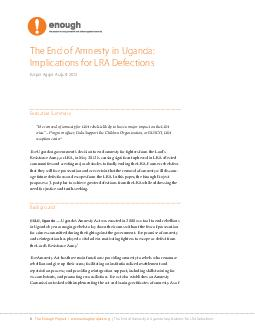 The end of amnesty in Uganda implications for LRA defection PowerPoint PPT Presentation