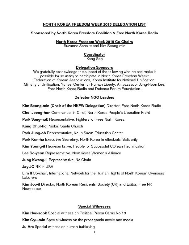 NORTH KOREA FREEDOM WEEK 2015 DELEGATION LIST