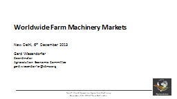 Worldwide Farm Machinery Markets