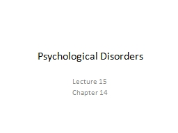 Psychological Disorders PowerPoint PPT Presentation