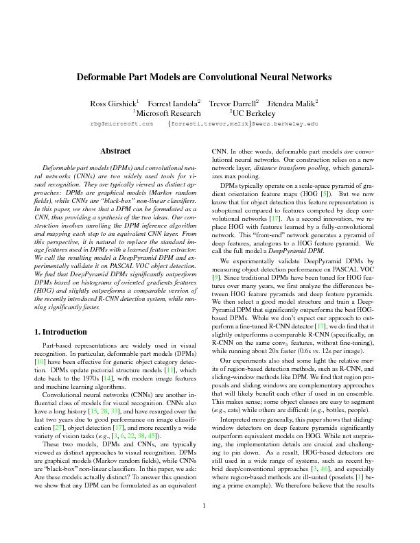 Deformable part models are convolutional neural networks