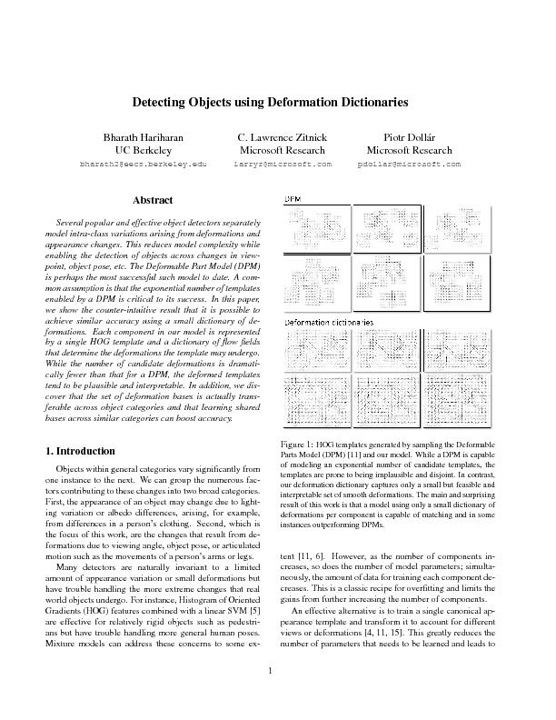 Detecting objects using deformation dictionaries PowerPoint PPT Presentation
