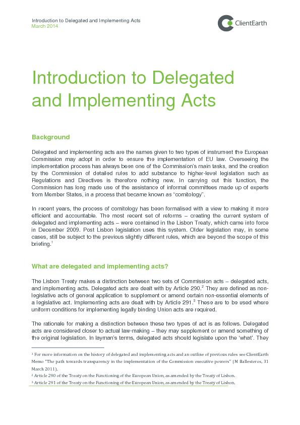 Introduction to delegated and implementing acts