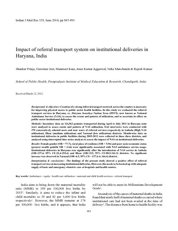 Impact of referral transport system on institutional deliveries in Haryana India ..