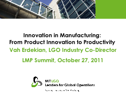 Innovation in Manufacturing: