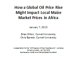 How a Global Oil Price Rise Might Impact Local Maize Market