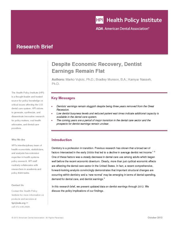 Despite economic recovery dentist earning remain flat