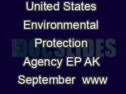United States Environmental Protection Agency EP AK September  www