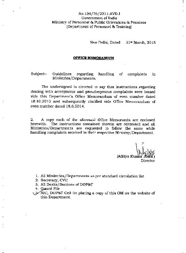No.104/76/2011-AVD.I Ministry of Personnel & Public Grievances & Pensi