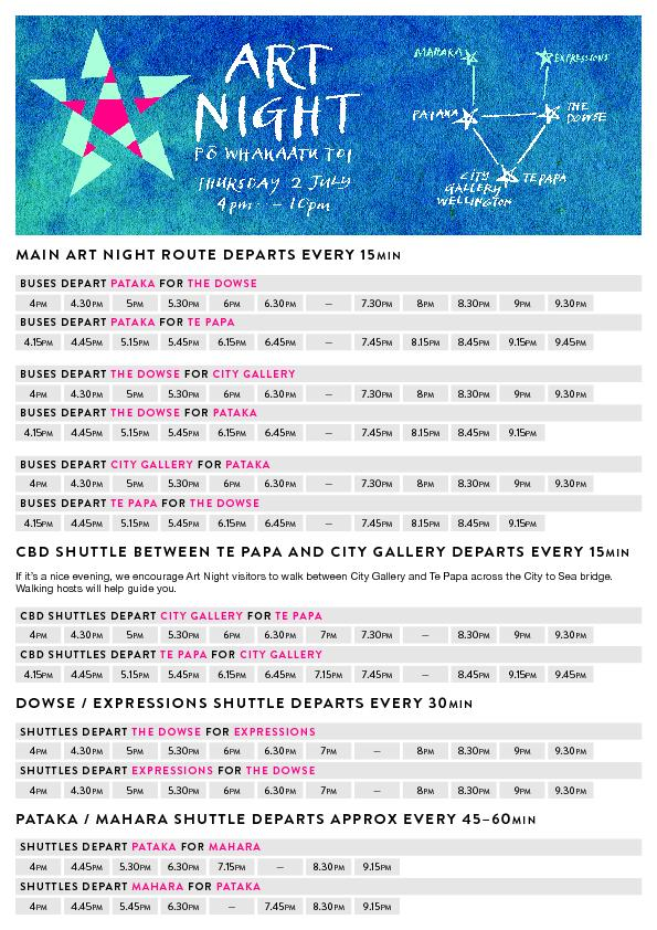 MAIN ART NIGHT ROUTE DEPARTS EVERY 15