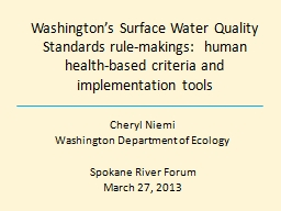 Washington's Surface Water Quality Standards rule-makings