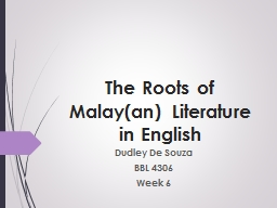 The Roots of Malay(an) Literature in English