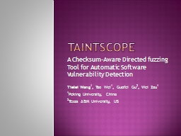 TAintscope PowerPoint PPT Presentation