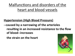 Malfunctions and disorders of the heart and blood vessels