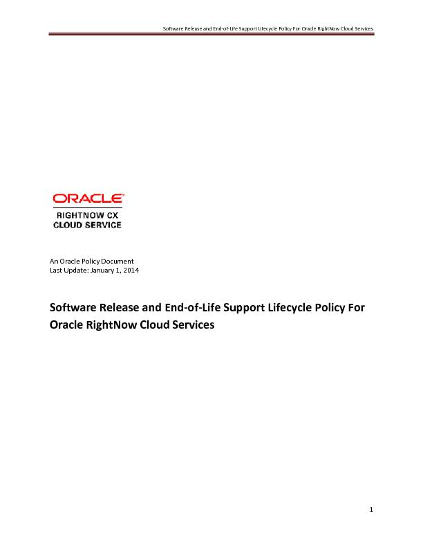 Software Release and end of life support life cycle policy for oracle right now cloud services