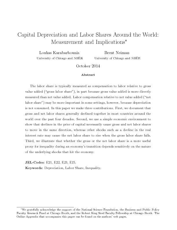 Capital Depreciation and Labor Shares Around the World Measurement and Implications