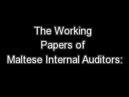 The Working Papers of Maltese Internal Auditors:
