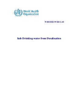 Safe drinking water from desalination