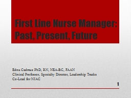 First Line Nurse Manager:  Past, Present, Future