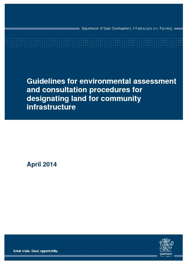 Guidelines for environmental assessment and consultation procedures for designating land for community infra structure