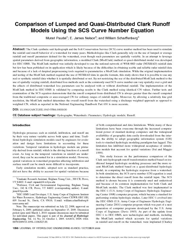 Comparison of lumped and quasi distributed clark runoff models using the SCS curve number equation