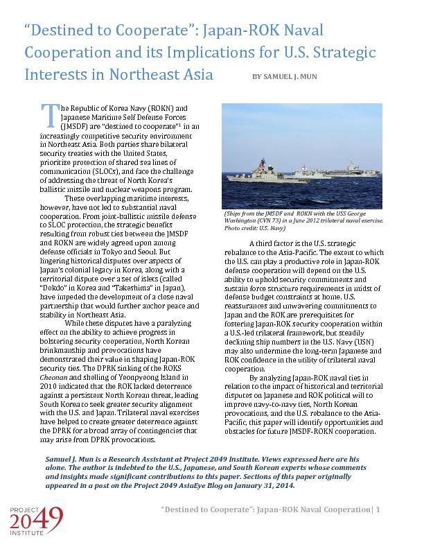 """""""Destined to Cooperate"""": Japan ROk naval cooperation and its implications for US strategic interests in Northeast asia"""