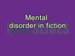Mental disorder in fiction