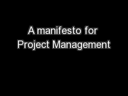 A manifesto for Project Management