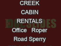 BRIDLE CREEK CABIN RENTALS Office   Roper Road Sperry OK  bridlecreekok