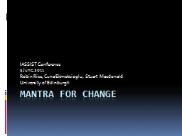 MANTRA FOR CHANGE
