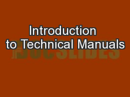 Introduction to Technical Manuals PowerPoint PPT Presentation