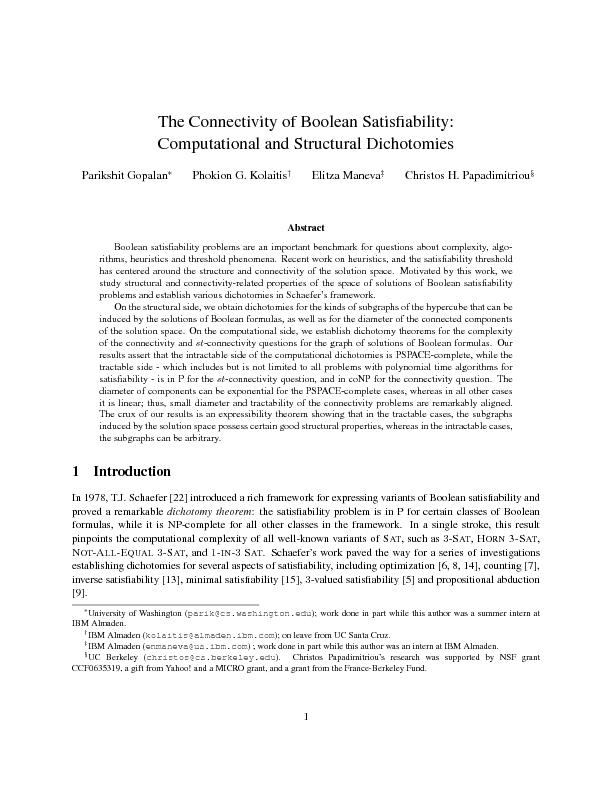 The connectivity of boolean satisfiability computational and structural dichotomies