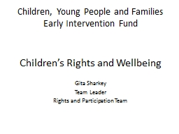 Children, Young People and Families Early Intervention Fund