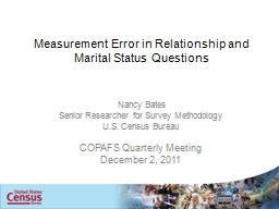 Measurement Error in Relationship and Marital Status Questi PowerPoint PPT Presentation