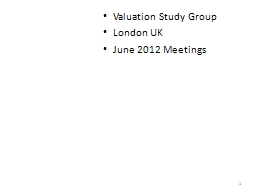 Valuation Study Group PowerPoint PPT Presentation