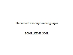 Document description languages