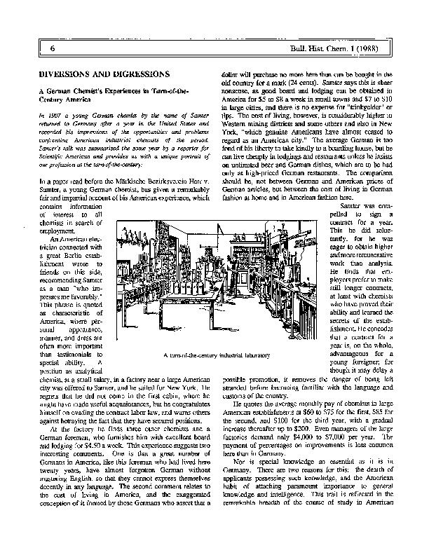 A turn-of-the-century industrial laboratory61 (1988)DIVERSIONS AND DIG