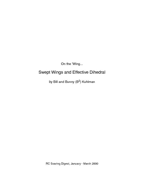 Swept wings and effective Dihedral