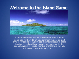 Welcome to the Island Game PowerPoint PPT Presentation