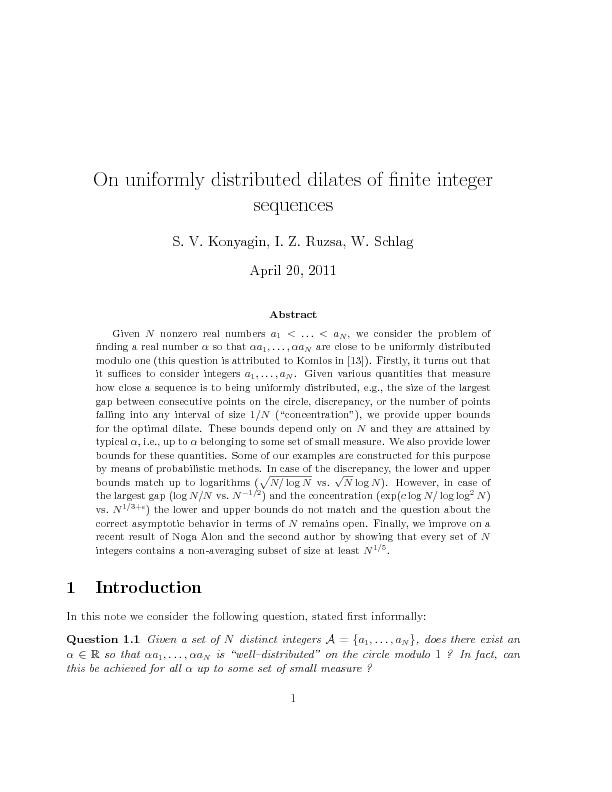 On uniformly distributed dilates of finite integer sequences