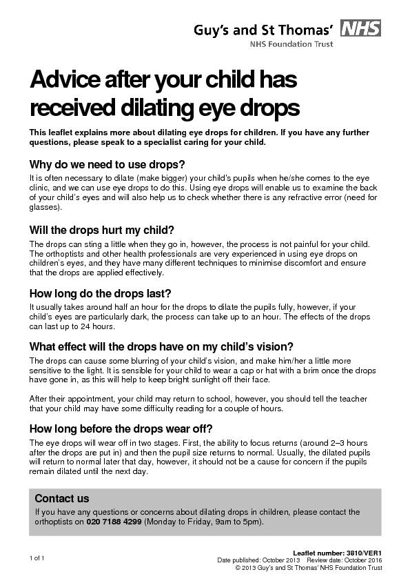 Advice after your child has  received dilating eye drops