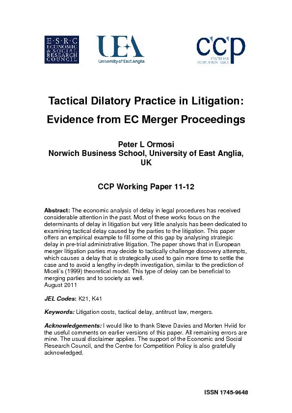 Tactical Dilatory Practice in Litigation evidence from EC merger proceedings