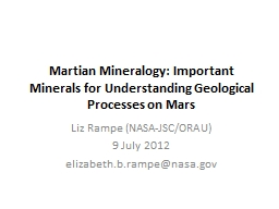Martian Mineralogy: Important Minerals for Understanding Ge