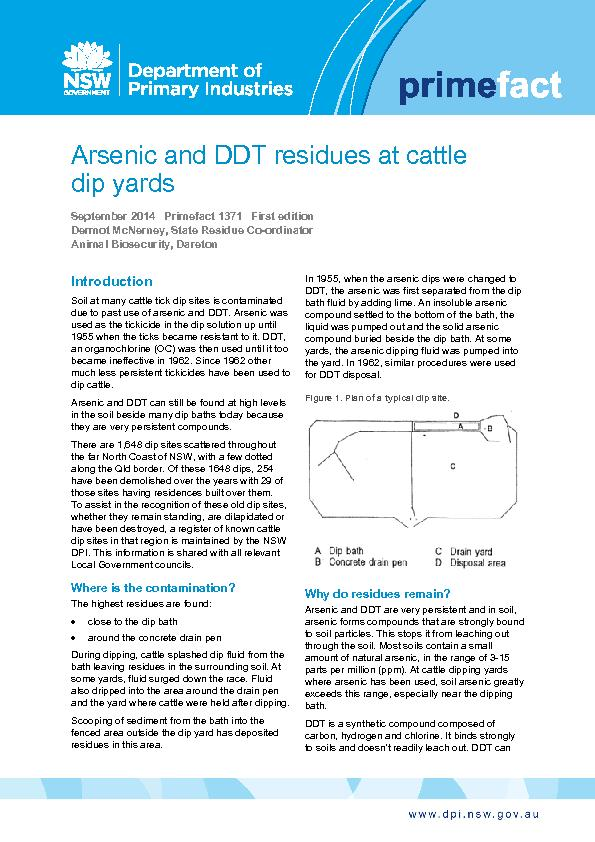 Arsenic and DDT residues at cattle dip yardsSeptember 2014   Primefact