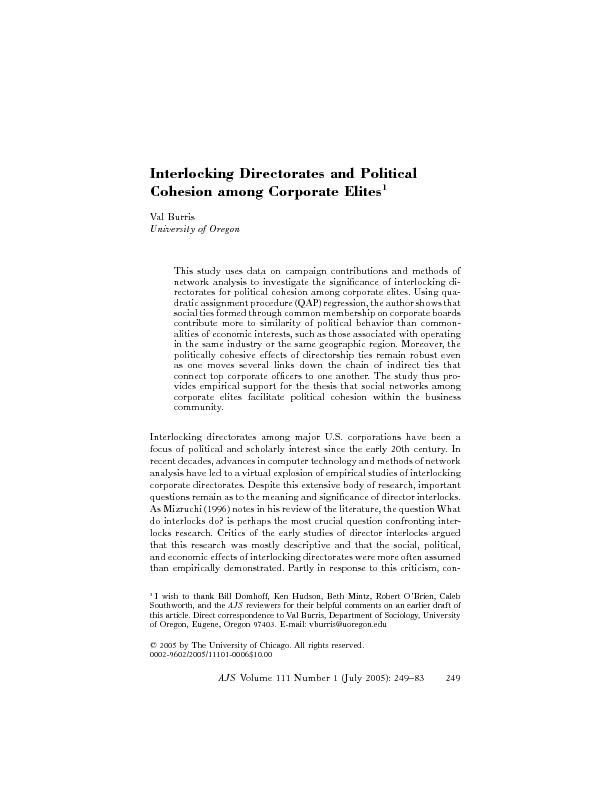 Interlocking directorate and political cohesion among corporate elites