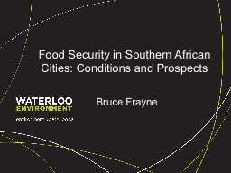 Food Security in Southern African Cities: Conditions and Pr