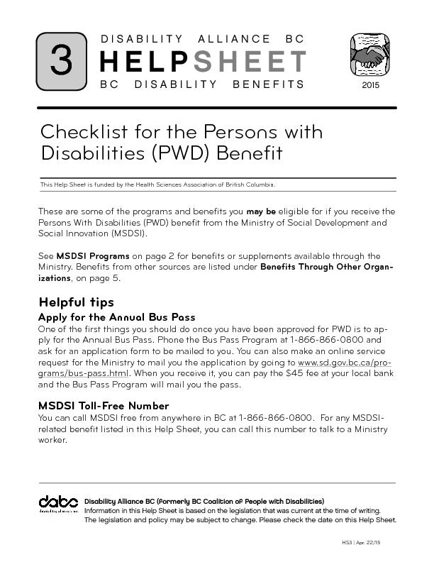 Check list for the persons with disabilities benefit